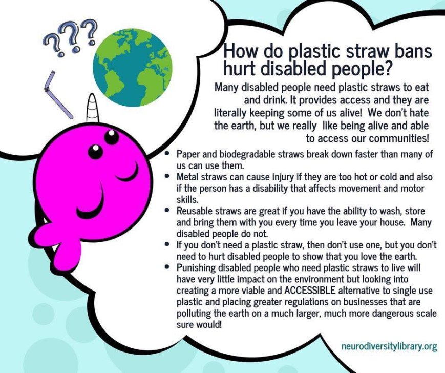 "This infographic shows a drawing of a pink/purple narwhal, a bendy straw, three question marks, and an image of the globe. The text says, ""How do plastic straw bans hurt disabled people? Many disabled people need plastic straws to eat and drink. It provides access and they are literally keeping some of us alive! We don't hate the earth, but we really like being alive and able to access our communities!"" This text is followed by bullet points saying, Paper and biodegradable straws break down faster than many of us can use them. Metal straws can cause injury if they are too hot or cold and also if the person has a disability that affects movement and motor skills. Reusable straws are great if you have the ability to wash, store and bring them with you every time you leave your house. Many disabled people do not. If you don't need a plastic straw, then don't use one, but you don't need to hurt disabled people to show that you love the earth. Punishing disabled people who need plastic straws to live will have very little impact on the environment but looking into creating a more viable and ACCESSIBLE alternative to single use plastic and placing greater regulations on businesses that are polluting the earth on a much larger, much more dangerous scale sure would! At the bottom of the infographic is the web link (not clickable in the infographic) for neurodiversitylibrary.org"
